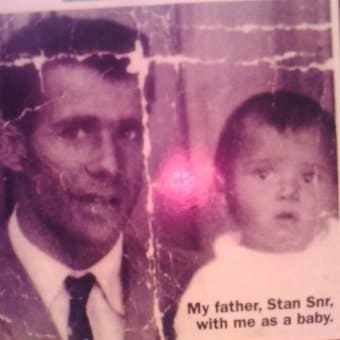 Stan Grant as a baby with his father.